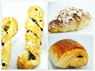 Pictured, clockwise from left: Chocolate Twist, Almond Croissant, Pain au Chocolat