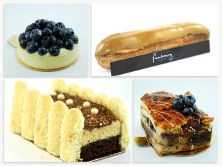 Pictured, clockwise from bottom left: Tiramisu, Berry Tart, Éclair, Croissant Pudding