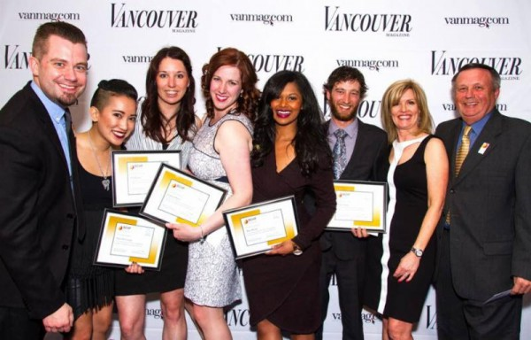 L-R-Kurtis-Kolt-Independent-Wine-Consultant-Samantha-Casuga-Jen-Kinna-Carmen-Parry-Shiva-Reddy-Chris-Turyk-Lori-Chalmers-Publisher-Vancouver-Magazine-and-Bing-Smith-Chair-BCHF-at-the-Sheraton-Wall-Centre-on-April 24