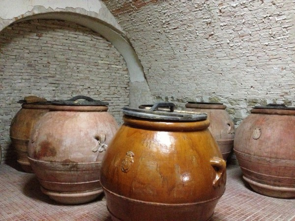 Tamburini casks of olive oil