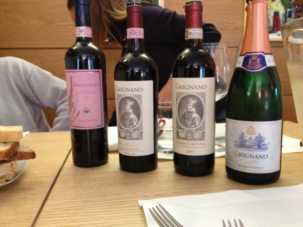 Tamburini wines served at lunch