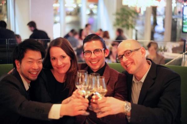Roger Maniwa (Hawksworth), Brooke Delves (Wildebeest), Jason Yamasaki (Chambar) and Christophe Cardone (Blasons de Bourgogne) raise a glass of Chablis