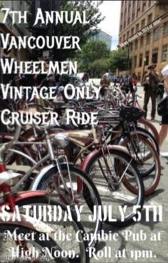 Vancouver Wheelmen Vintage Bicycle Club cruiser bikes