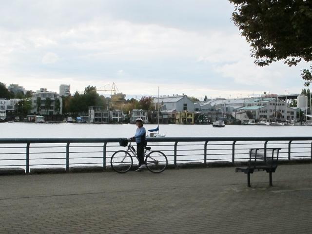 Contributor Roslyne Buchanan checks out the seawall by bike