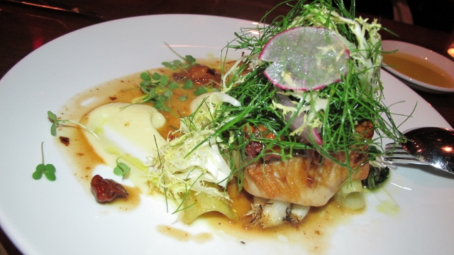 Sablefish, chanterelles, fennel and grilled scallions at La Pentola della Quercia