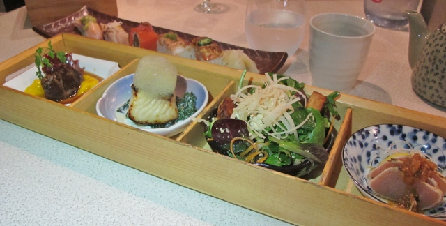 Minami Zen - Japanese hinoki lunchbox with miso soup, four selections from the kitchen and the chef's choice five-piece signature aburi sushi