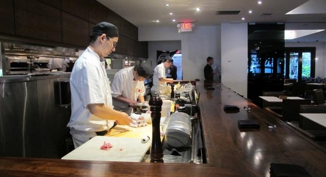 Chefs prepare sushi aburi style at Minami