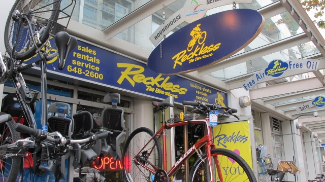 Reckless Bikes at Yaletown is by the seawall