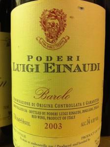 Poderi Luigi Einaudi Barolo 2003