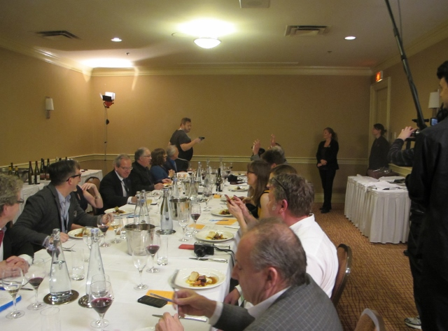 RBuchanan photo - Judges in separate room at Delta Grand Okanagan get an introduction from each competing chef as dishes are evaluated