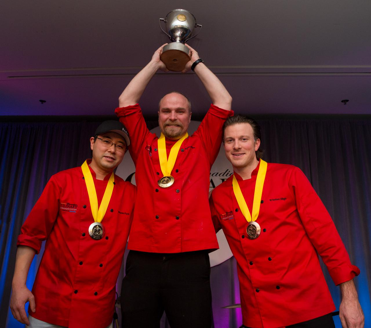 Yuri Akuney photo courtesy Gold Medal Plates - Canadian Culinary Championships winners on podium