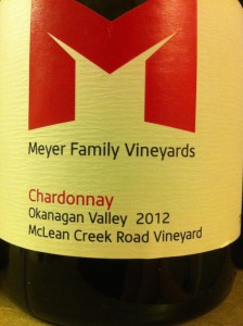 Meyer Family 2012 McLean Creek Chardonnay