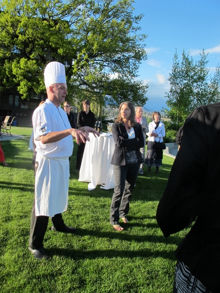 OFWWW Founder Jennifer Cockrall-King introduces Executive Chef Grant de Montreuil at The Cove Resort