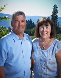 Okanagan Crush Pad owners,  Steve Lornie and Christine Coletta,  at Switchback Organic Vineyard