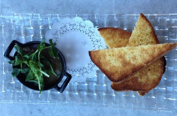 Chicken liver and morel parfait with brioche