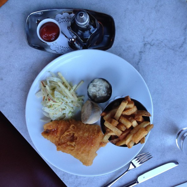 Fish and Frites with Apple Fennel slaw