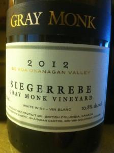 Gray Monk 2012 Siegerrebe