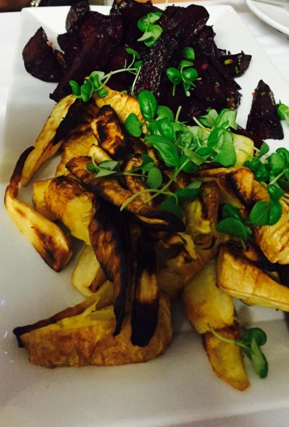 Roasted beets and parsnips