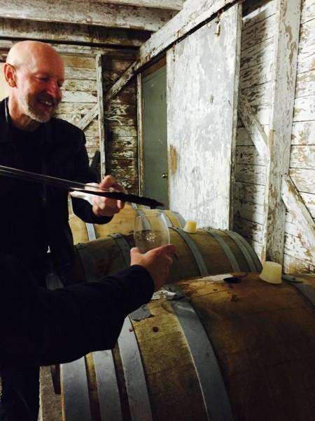 Vern Siemens of Mt Lehman winery offering samples