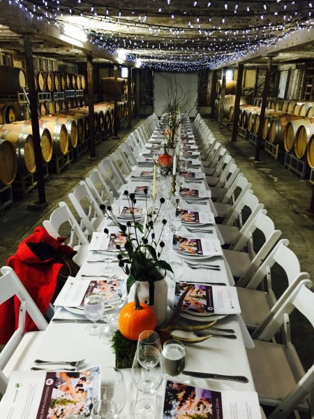Family style seating in the barrel room