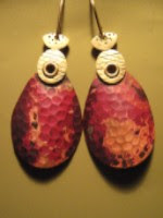 Hammered bronze and sterling silver earrings from Nancy Esworthy