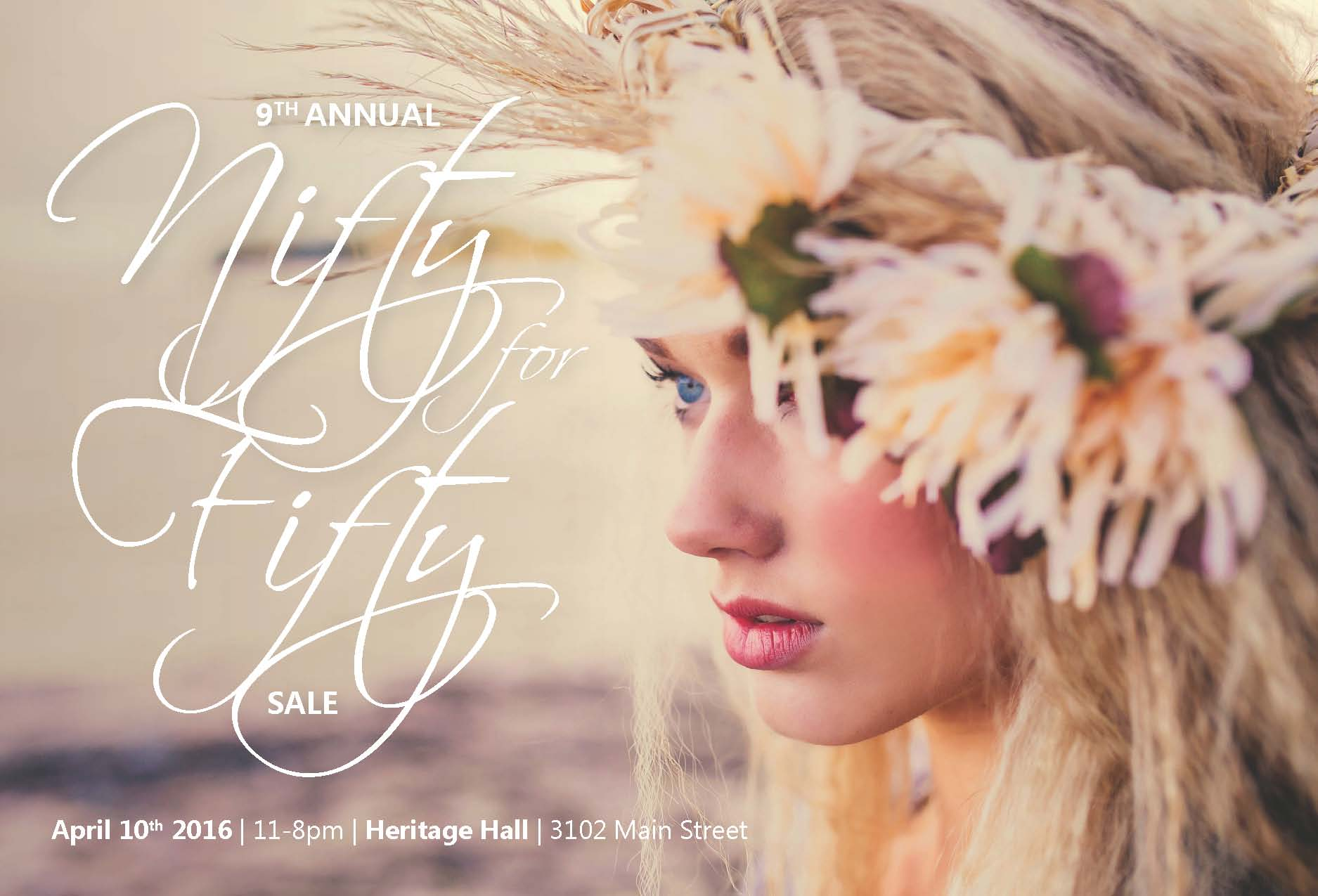 9th Annual Nifty for Fifty Indie Designer Blowout Sale on Sunday, April 10th at Heritage Hall