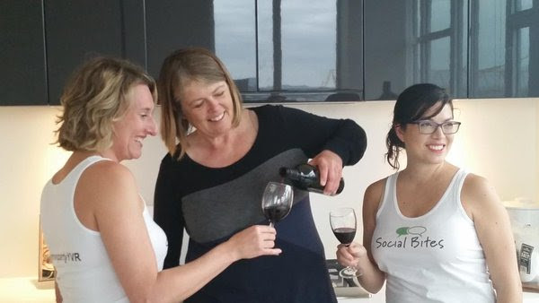 Annika Reinhardt (DinnerPartyYVR co-founder), Serendipity Winery owner Judy Kingston and Crystal Henrickson (DinnerPartyYVR co-founder) share a glass of Serendipity wine in 2015.