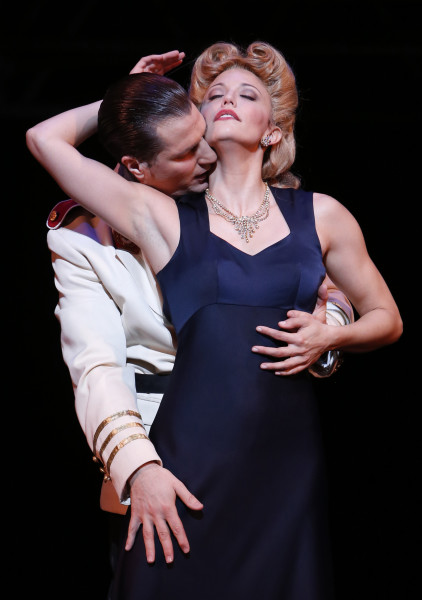 John Cudia as Peron; Caroline Bowman as Eva. Photo by Tim Matheson.