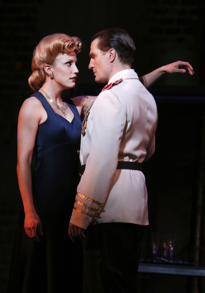 Caroline Bowman as Eva; John Cudia as Peron. Photo by Tim Matheson.