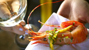 BC Spot Prawns and Okanagan wine: a perfect pairing. Photo credit: Rick Chung