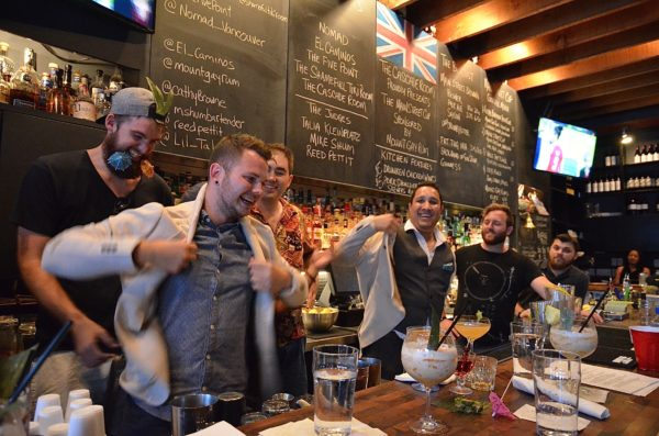 Nomad's Matt Van Dinther and Matt Benevoli don their Mount Gay jackets as the first Judges' Choice winners of the Main Street Cup competition