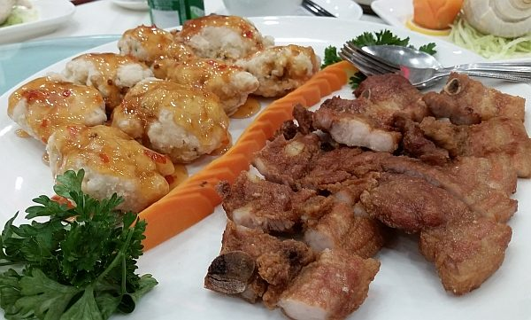 Pan Fried Tofu with Seafood and Spareribs in Special Sauce photo credit mywinepal