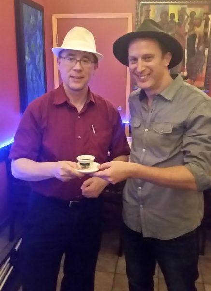 Robin Esrock and Karl - MyWinePal at Harambe Ethiopian Restaurant