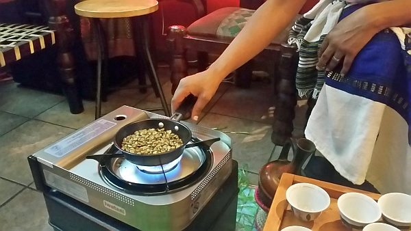 Toasting Green Coffee Beans for traditional Ethiopian Coffee