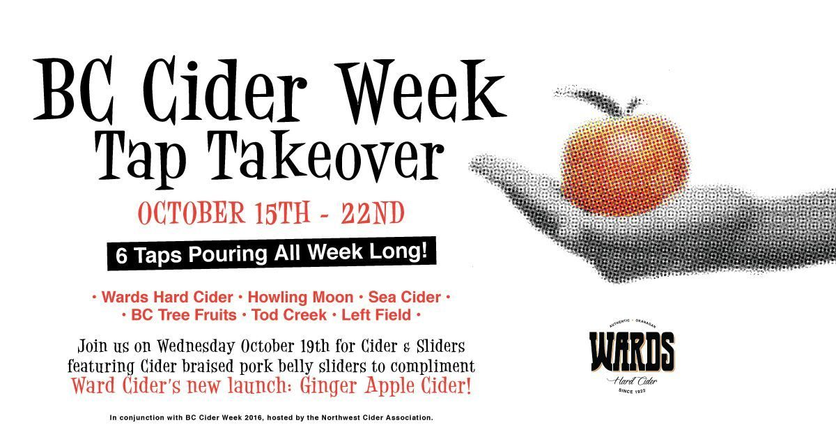 Cider Tap Takeover at The Cascade Room, October 15-22
