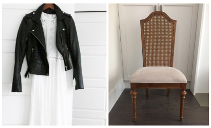 Melanie Auld's DIY Runway inspiration? An edgy leather jacket paired with a soft, flowy white maxi dress. The jeweler will transform this pre-loved chair using her Rust-Oleum goods.