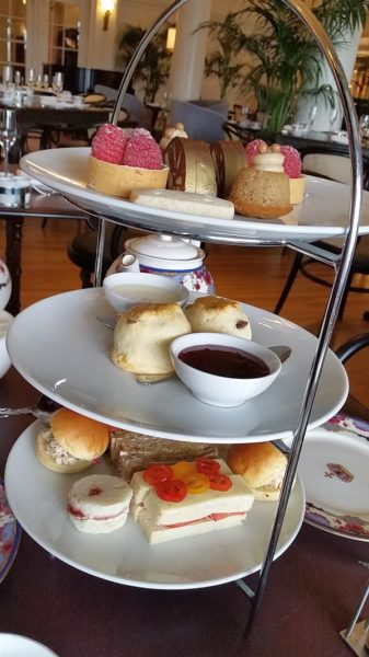 3 tiers of desserts and savoury sandwiches at The Empress - photo Karl Kliparchuk