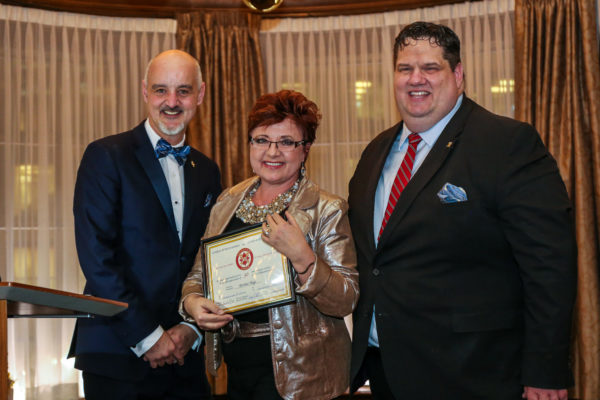 from left Mr. Dillon Carfoot Regional Director for Les Clefs d'Or British Columbia, Ms. Bertine Hage, Chef Concierge at the Four Seasons Hotel (honored for 30 years of service with Les Clefs d'Or) and Mr. Don Mooney , Vice Director of Les Clefs d'Or Canada