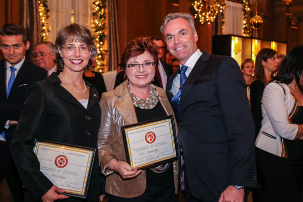 from left Ms. Sheron Empey (received certificate of excellence , Concierge - Four Seasons Hotel, Ms Ms. Bertine Hage, Chef Concierge at the Four Seasons Hotel, Martin Sinclair, GM Four Seasons Hotel.