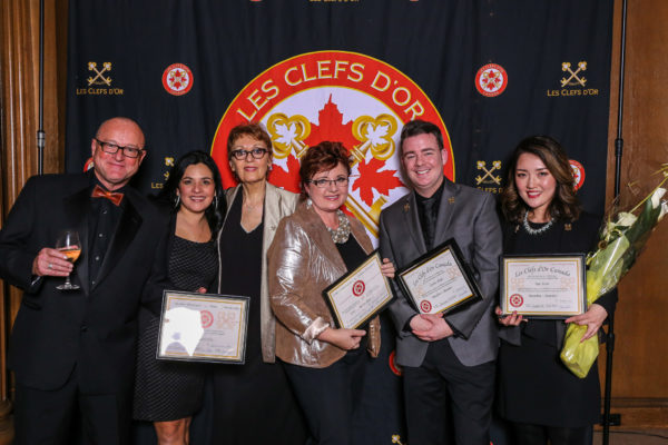 from left Mr. Steve Bickerdicke (Honorary member for Les Clefs d'Or), Ms. Ivonne Mayne, Concierge, Fairmont Pacific Rim, Ms. Marie Claire, Prestige Maps, Ms. Bertine Hage, Chef Concierge Four Seasons Hotel, Mr. Curtis Slade, concierge Wedgwood Hotel, Ms. Sue Yoon, Concierge, Shangri-La Hotel
