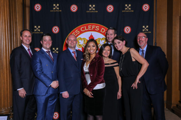 from Left Mr. Michael Pye, General Manager - Fairmont Hotel Vancouver, Mr. Kevin Kelleher, Director of Rooms, Mr. Mark Warwin, Director of Operations, Ms. Melany Bautista, Fairmont Gold Supervisor, Ms. Yuki Fournier, Fairmont Gold Supervisor, Mr. David Reid, Concierge , Ms. Debbie Wild, Concierge, Mr. Darren Klingbeil, Fairmont Gold Manager. All from Fairmont Hotel Vancouver