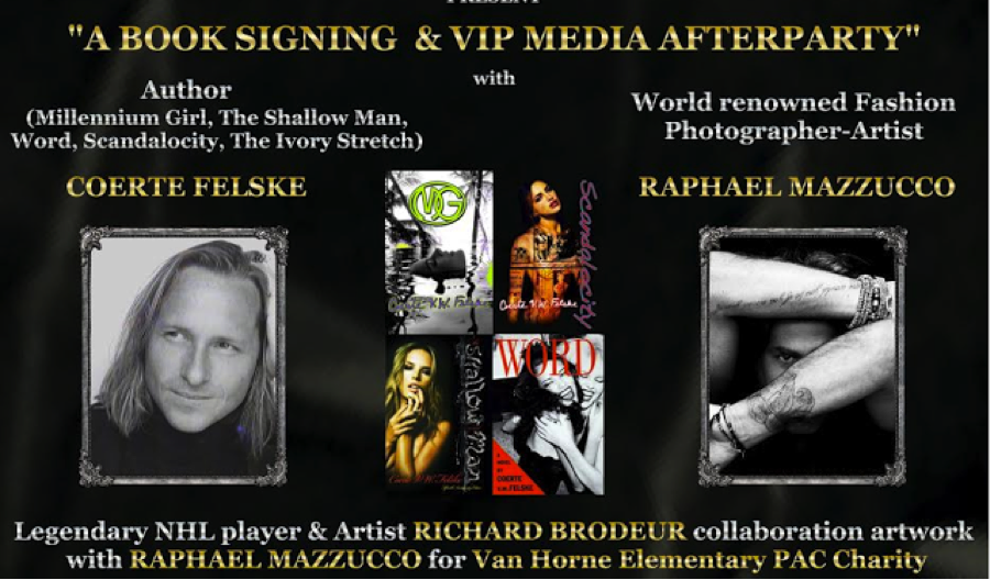 A Friday Night with Best Selling Author Coerte Felske & World Renowned Fashion Photographer Raphael Mazzucco