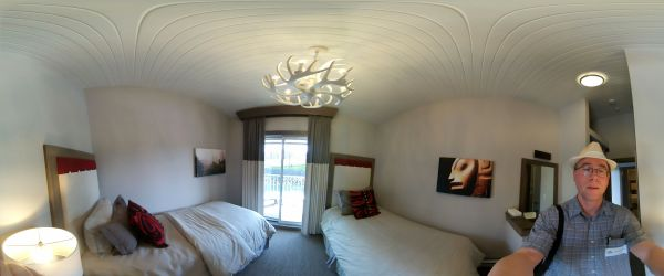 A panorama view of a 2 bed room at Ocean House