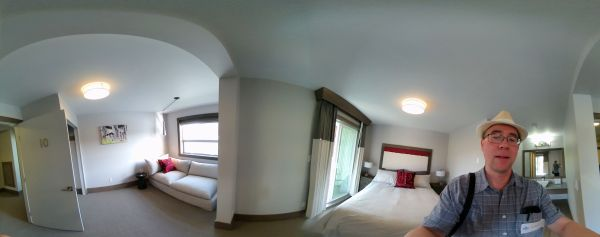 A panorama view of a family suite at Ocean House