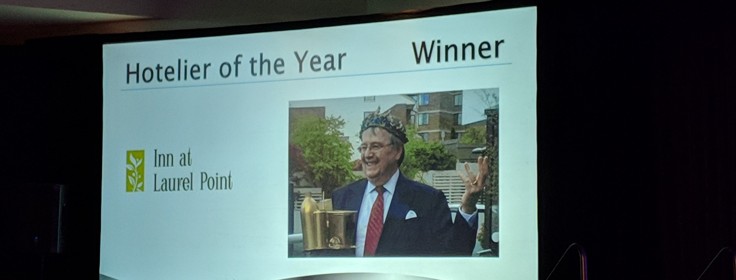 British Columbia Hotel Association recognizes Ian Powell, Managing Director, Inn at Laurel Point & Paul's Motor Inn as hotelier of the year.