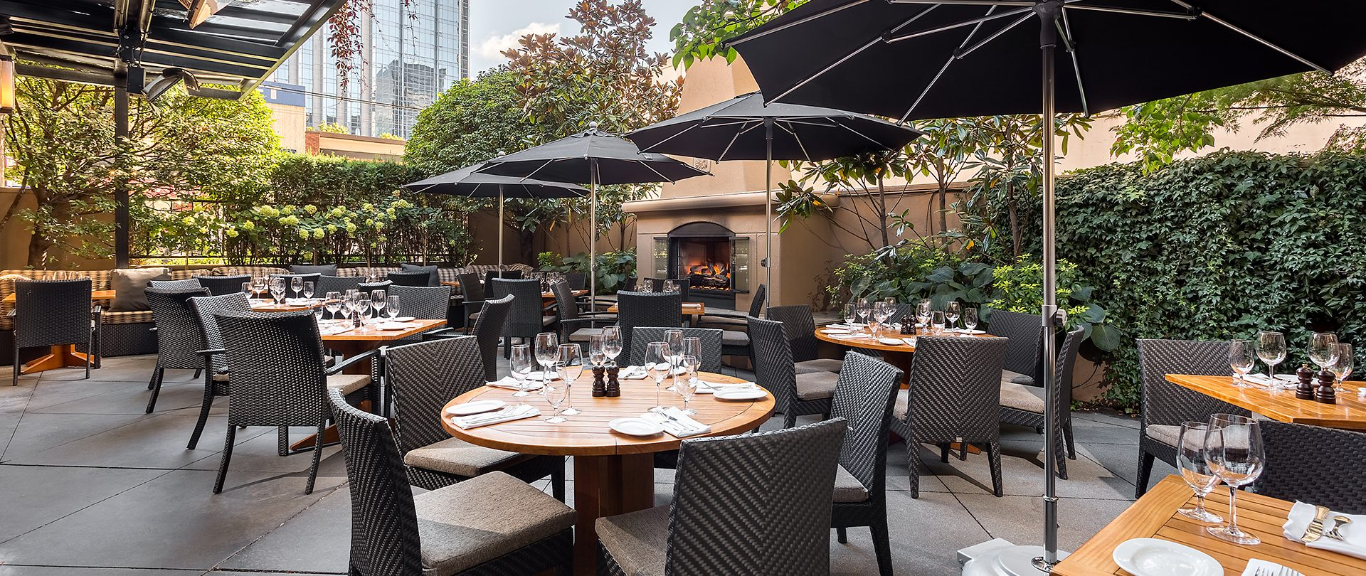 Gotham's patio is now open for lunch, dinner, and a new Social Hour al fresco